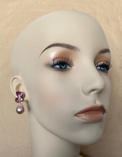 Michael Kneebone Michael Kneebone Pink Topaz Diamond Kasumi Pearl Dangle Earrings - 1579690