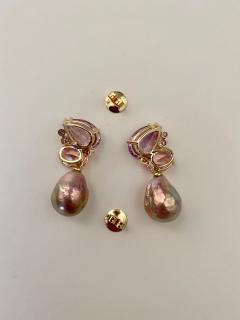 Michael Kneebone Michael Kneebone Pink Topaz Diamond Kasumi Pearl Dangle Earrings - 1579691