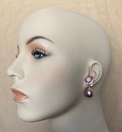 Michael Kneebone Michael Kneebone Pink Topaz Diamond Kasumi Pearl Dangle Earrings - 1579692
