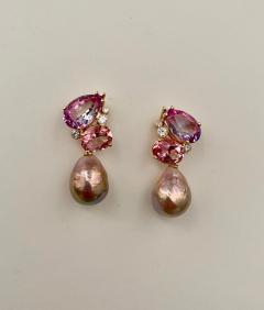 Michael Kneebone Michael Kneebone Pink Topaz Diamond Kasumi Pearl Dangle Earrings - 1579693