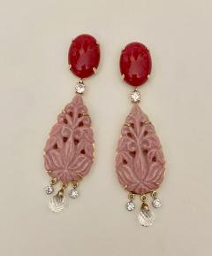 Michael Kneebone Michael Kneebone Red Coral Diamond Rock Crystal Rosaline Dangle Earrings - 1660702