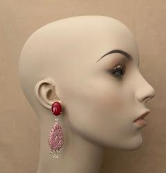 Michael Kneebone Michael Kneebone Red Coral Diamond Rock Crystal Rosaline Dangle Earrings - 1660703