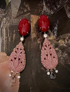 Michael Kneebone Michael Kneebone Red Coral Diamond Rock Crystal Rosaline Dangle Earrings - 1660704