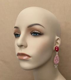 Michael Kneebone Michael Kneebone Red Coral Diamond Rock Crystal Rosaline Dangle Earrings - 1660705