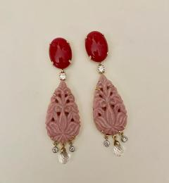 Michael Kneebone Michael Kneebone Red Coral Diamond Rock Crystal Rosaline Dangle Earrings - 1660706