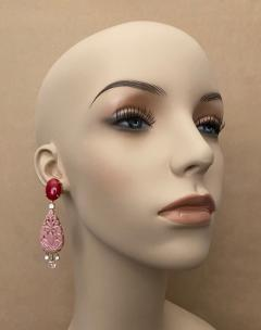 Michael Kneebone Michael Kneebone Red Coral Diamond Rock Crystal Rosaline Dangle Earrings - 1660709