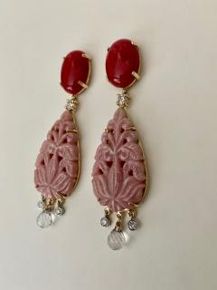 Michael Kneebone Michael Kneebone Red Coral Diamond Rock Crystal Rosaline Dangle Earrings - 1660710