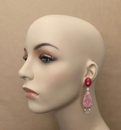 Michael Kneebone Michael Kneebone Red Coral Diamond Rock Crystal Rosaline Dangle Earrings - 1660711