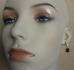 Michael Kneebone Michael Kneebone Rhodolite Garnet White Sapphire Diamond Dangle earrings - 1225475