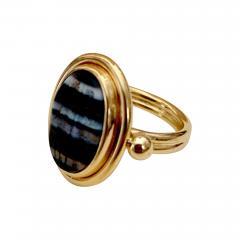 Michael Kneebone Michael Kneebone Roman Era Banded Agate Intaglio Pinkie Ring - 1354106