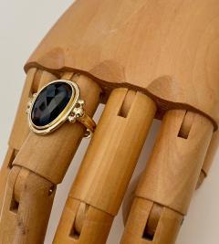 Michael Kneebone Michael Kneebone Rose Cut Black Spinel Archaic Style Ring - 1490875