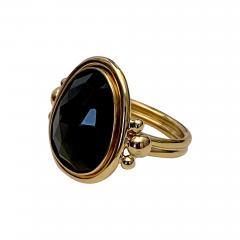 Michael Kneebone Michael Kneebone Rose Cut Black Spinel Archaic Style Ring - 1491083