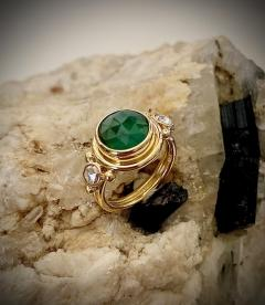 Michael Kneebone Michael Kneebone Rose Cut Emerald Rose Cut Diamond Archaic Style Cocktail Ring - 1439648