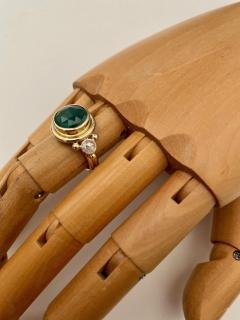Michael Kneebone Michael Kneebone Rose Cut Emerald Rose Cut Diamond Archaic Style Cocktail Ring - 1439649