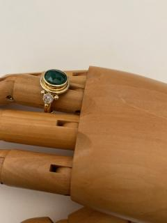 Michael Kneebone Michael Kneebone Rose Cut Emerald Rose Cut Diamond Archaic Style Cocktail Ring - 1439651