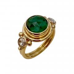 Michael Kneebone Michael Kneebone Rose Cut Emerald Rose Cut Diamond Archaic Style Cocktail Ring - 1440754