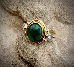 Michael Kneebone Michael Kneebone Rose Cut Emerald Rose Cut Diamond Archaic Style Cocktail Ring - 1501399