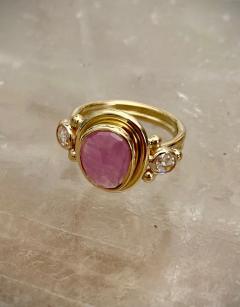 Michael Kneebone Michael Kneebone Rose Cut Pink Sapphire Diamond Archaic Style Cocktail Ring - 1439658