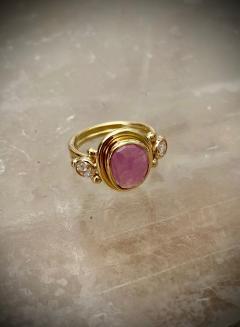 Michael Kneebone Michael Kneebone Rose Cut Pink Sapphire Diamond Archaic Style Cocktail Ring - 1439663