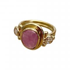 Michael Kneebone Michael Kneebone Rose Cut Pink Sapphire Diamond Archaic Style Cocktail Ring - 1440756