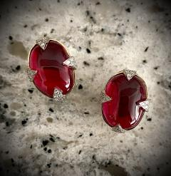 Michael Kneebone Michael Kneebone Rubellite Diamond Cabochon Gold Platinum Button Earrings - 1924577