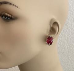 Michael Kneebone Michael Kneebone Rubellite Diamond Cabochon Gold Platinum Button Earrings - 1924586