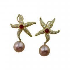 Michael Kneebone Michael Kneebone Ruby Diamond Kasumi Pearl Starfish Earrings - 1167148