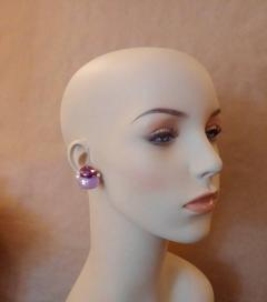 Michael Kneebone Michael Kneebone Ruby Pink Sapphire Diamond 18k Gold Button Earrings - 1058616