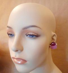 Michael Kneebone Michael Kneebone Ruby Pink Sapphire Diamond 18k Gold Button Earrings - 1058618