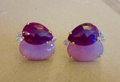 Michael Kneebone Michael Kneebone Ruby Pink Sapphire Diamond 18k Gold Button Earrings - 1058619