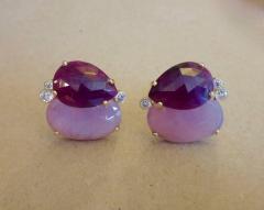 Michael Kneebone Michael Kneebone Ruby Pink Sapphire Diamond 18k Gold Button Earrings - 1058623