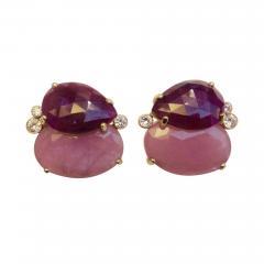 Michael Kneebone Michael Kneebone Ruby Pink Sapphire Diamond 18k Gold Button Earrings - 1058759