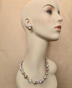 Michael Kneebone Michael Kneebone Sapphire Flame Ball Pearl Necklace Earring Suite - 1583980