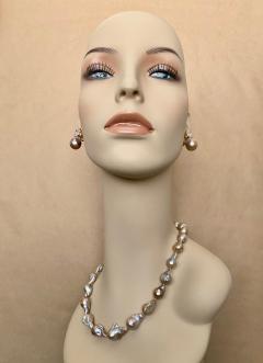 Michael Kneebone Michael Kneebone Sapphire Flame Ball Pearl Necklace Earring Suite - 1583983