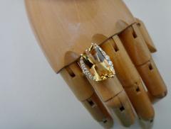 Michael Kneebone Michael Kneebone Scissor Cut Golden Beryl White Diamond Cocktail Ring - 996529