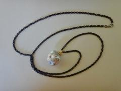 Michael Kneebone Michael Kneebone South Seas Pearl Diamond 18k Gold Blackened Steel Pendant - 1072656