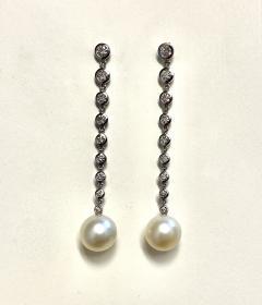 Michael Kneebone Michael Kneebone South Seas Pearl Diamond White Gold Dangle Earrings - 1924784