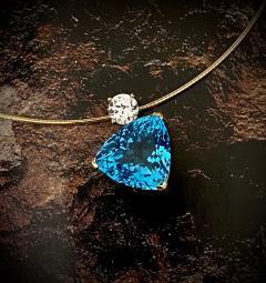 Michael Kneebone Michael Kneebone Swiss Blue Topaz White Sapphire Asymmetrical Pendant - 1496642