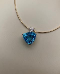 Michael Kneebone Michael Kneebone Swiss Blue Topaz White Sapphire Asymmetrical Pendant - 1496643