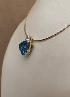 Michael Kneebone Michael Kneebone Swiss Blue Topaz White Sapphire Asymmetrical Pendant - 1496644