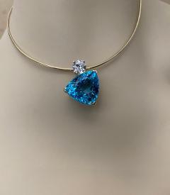 Michael Kneebone Michael Kneebone Swiss Blue Topaz White Sapphire Asymmetrical Pendant - 1496645