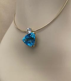 Michael Kneebone Michael Kneebone Swiss Blue Topaz White Sapphire Asymmetrical Pendant - 1496647