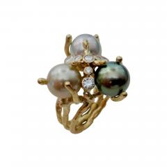Michael Kneebone Michael Kneebone Tahitian Pearl Diamond Cluster Cocktail Ring - 1192294