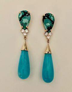 Michael Kneebone Michael Kneebone Tibetan Turquoise Diamond Amazonite Dangle Earrings - 1577987