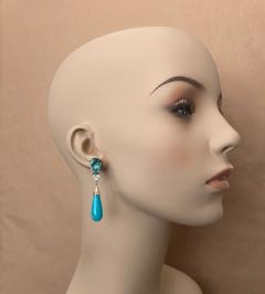 Michael Kneebone Michael Kneebone Tibetan Turquoise Diamond Amazonite Dangle Earrings - 1577988