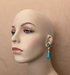 Michael Kneebone Michael Kneebone Tibetan Turquoise Diamond Amazonite Dangle Earrings - 1577990