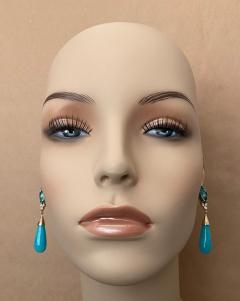 Michael Kneebone Michael Kneebone Tibetan Turquoise Diamond Amazonite Dangle Earrings - 1577992
