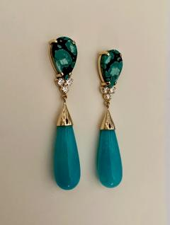 Michael Kneebone Michael Kneebone Tibetan Turquoise Diamond Amazonite Dangle Earrings - 1577993