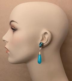 Michael Kneebone Michael Kneebone Tibetan Turquoise Diamond Amazonite Dangle Earrings - 1577996