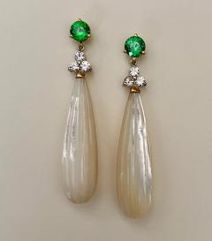 Michael Kneebone Michael Kneebone Tsavorite Garnet Diamond Mother of Pearl Dangle Earrings - 1467331